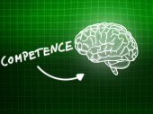 Competence brain background knowledge science blackboard green — Stockfoto