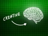 Creative brain background knowledge science blackboard green — ストック写真