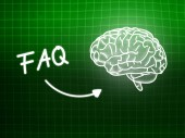 FAQ brain background knowledge science blackboard green — Stockfoto