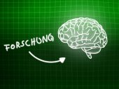 Forschung brain background knowledge science blackboard green — Stockfoto