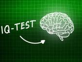 IQ Test  brain background knowledge science blackboard green — ストック写真