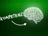Kompetenz brain background knowledge science blackboard green — Stockfoto