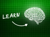 Learn brain background knowledge science blackboard green — Stockfoto