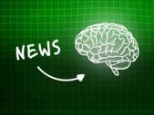 News brain background knowledge science blackboard green — 图库照片