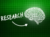 Research brain background knowledge science blackboard green — Stockfoto