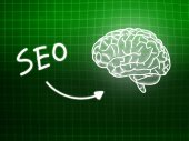 SEO brain background knowledge science blackboard green — Stockfoto