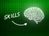 Skills brain background knowledge science blackboard green — 图库照片