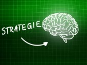 Strategie brain background knowledge science blackboard green — Stockfoto