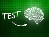 Test brain background knowledge science blackboard green — Stockfoto