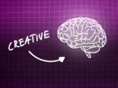 Creative brain background knowledge science blackboard pink — ストック写真