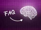 FAQ brain background knowledge science blackboard pink — Fotografia Stock