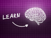 Learn brain background knowledge science blackboard pink — Stockfoto
