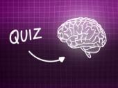 Quiz brain background knowledge science blackboard pink — ストック写真
