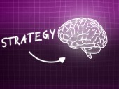 Strategy brain background knowledge science blackboard pink — Stockfoto