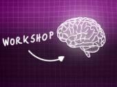 Workshop brain background knowledge science blackboard pink — Stock Photo