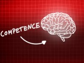 Competence brain background knowledge science blackboard red — Stock Photo