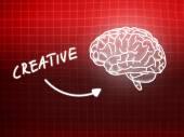 Creative brain background knowledge science blackboard red — Stock Photo