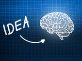 Idea brain background knowledge science blackboard blue — Stock Photo