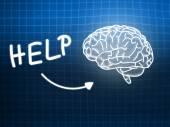 Help brain background knowledge science blackboard blue — Stock Photo