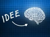 Idee brain background knowledge science blackboard blue — Φωτογραφία Αρχείου