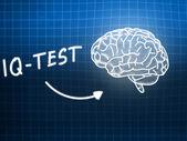 IQ Test  brain background knowledge science blackboard blue — Φωτογραφία Αρχείου