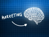 Marketing brain background knowledge science blackboard blue — Foto Stock