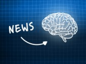 News brain background knowledge science blackboard blue — Φωτογραφία Αρχείου