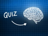 Quiz brain background knowledge science blackboard blue — Stock Photo