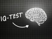 IQ Test  brain background knowledge science blackboard gray — Stock Photo