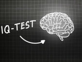 IQ Test  brain background knowledge science blackboard gray — Φωτογραφία Αρχείου