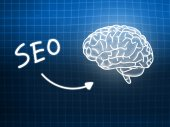 SEO brain background knowledge science blackboard blue — Φωτογραφία Αρχείου