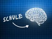 Schule brain background knowledge science blackboard blue — Stock Photo