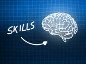 Skills brain background knowledge science blackboard blue — Stock Photo
