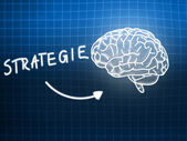 Strategie brain background knowledge science blackboard blue — Stock Photo