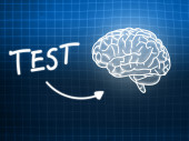 Test brain background knowledge science blackboard blue — Stock Photo