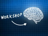 Workshop brain background knowledge science blackboard blue — Stock Photo