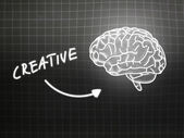 Creative brain background knowledge science blackboard gray — Stock Photo