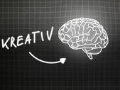 Kreativ brain background knowledge science blackboard gray — Φωτογραφία Αρχείου
