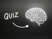Quiz brain background knowledge science blackboard gray — Φωτογραφία Αρχείου