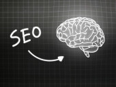 SEO brain background knowledge science blackboard gray — Φωτογραφία Αρχείου