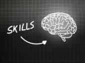 Skills brain background knowledge science blackboard gray — Φωτογραφία Αρχείου