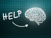 Help brain background knowledge science blackboard turquoise — Stock Photo