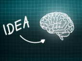 Idea brain background knowledge science blackboard turquoise — Stock Photo