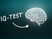 IQ Test  brain background knowledge science blackboard turquoise — Stock Photo