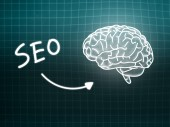 SEO brain background knowledge science blackboard turquoise — Stock Photo