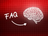 FAQ brain background knowledge science blackboard red — Φωτογραφία Αρχείου