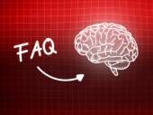 FAQ brain background knowledge science blackboard red — Stock Photo