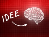 Idee brain background knowledge science blackboard red — Stock Photo