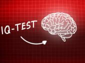 IQ Test  brain background knowledge science blackboard red — Stock Photo