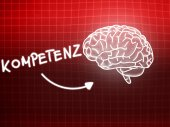 Kompetenz brain background knowledge science blackboard red — Stock Photo